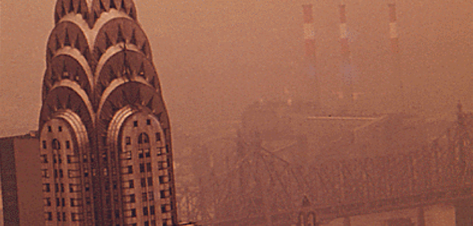 Chrysler building in smog